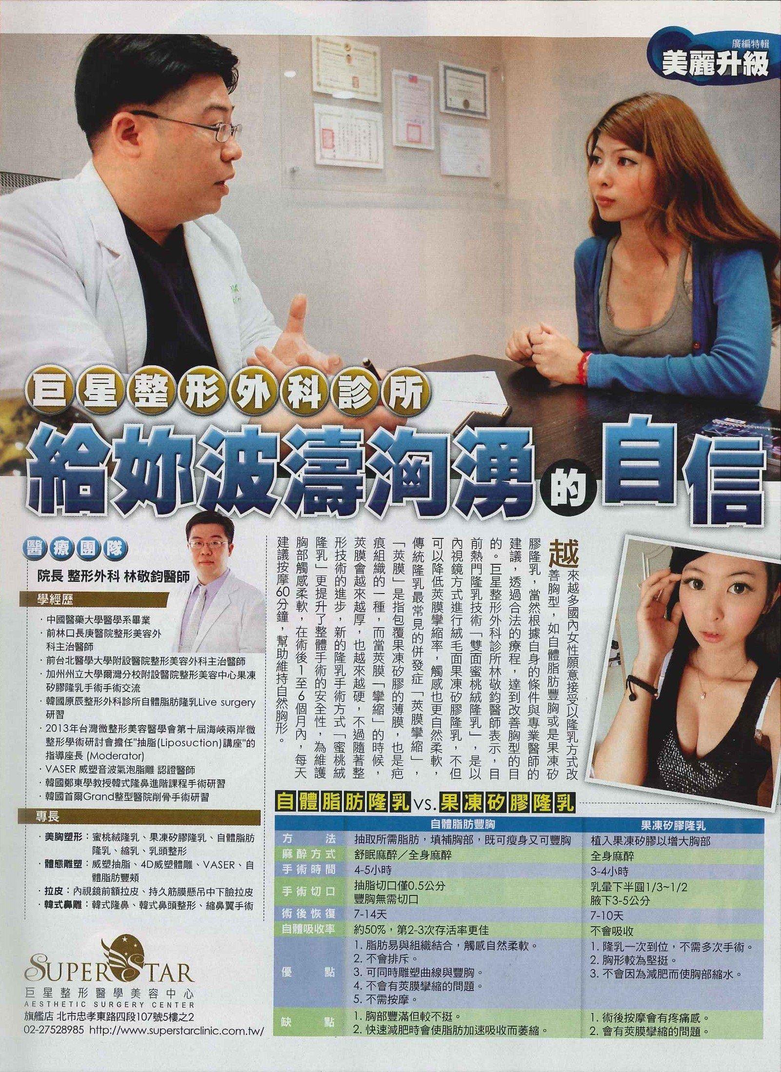 林敬鈞醫師接受壹週刊專訪蜜桃絨隆乳,雙面複合式隆乳